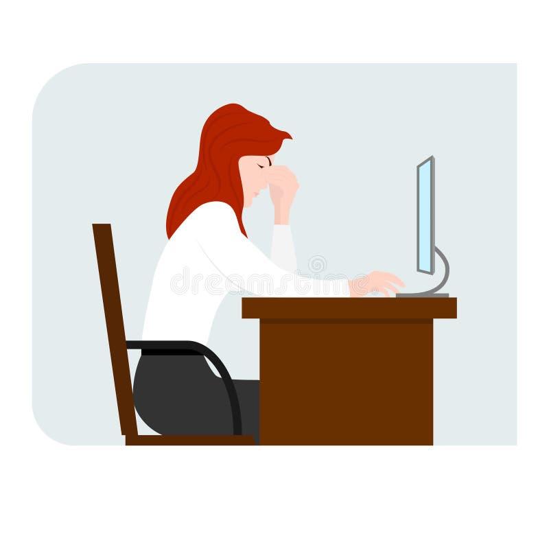 Dziewczyna siedzi przed komputerem i trzyma jej głowę Punkt ból Komputerowy zmęczenie ilustracja wektor