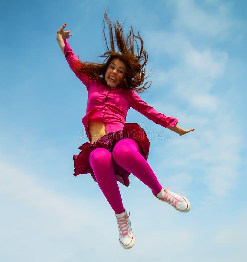 Dziewczyna skacząca zdjęcia stock