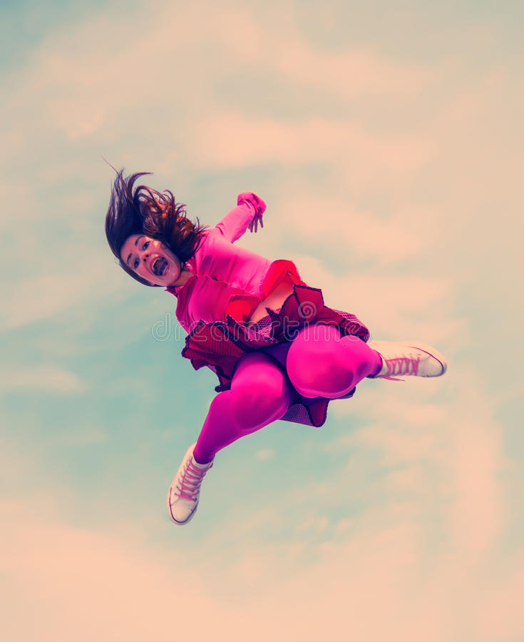 Dziewczyna skacząca obrazy royalty free