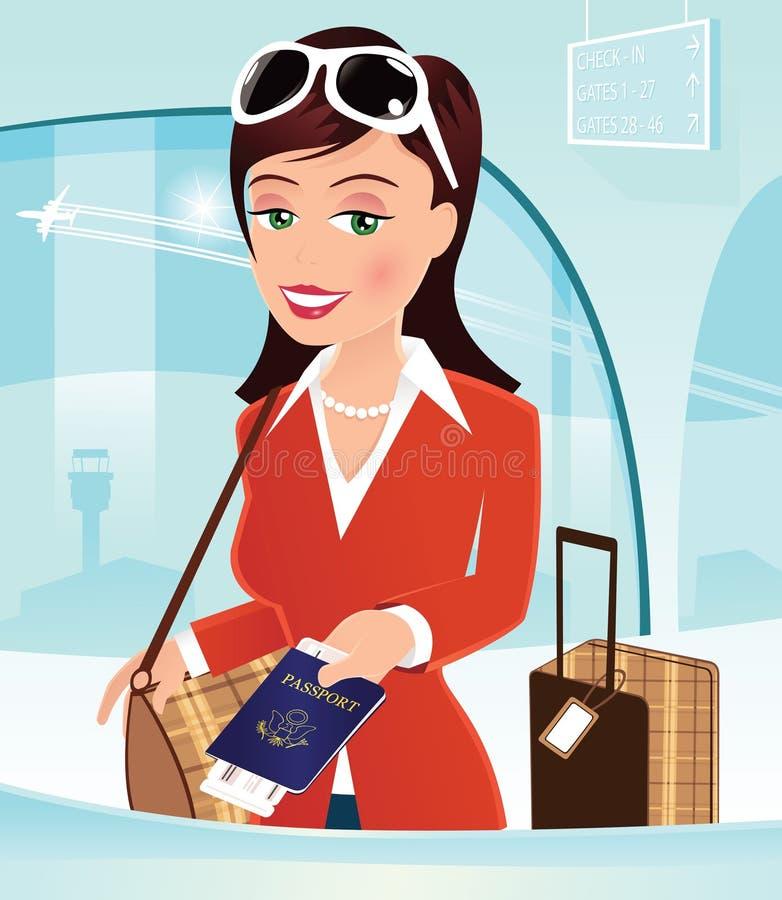 Dziewczyna sprawdza wewnątrz przy lotniskowym biurkiem royalty ilustracja