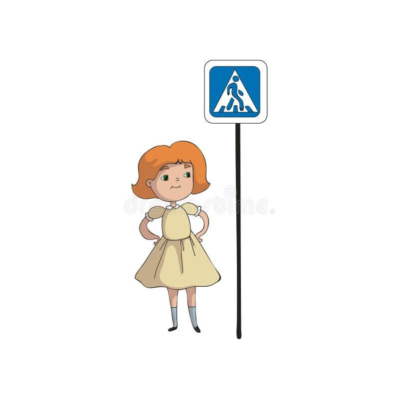 Dziewczyna stoi blisko drogowego znaka crosswalk t?a ilustracyjny rekinu wektoru biel ilustracji