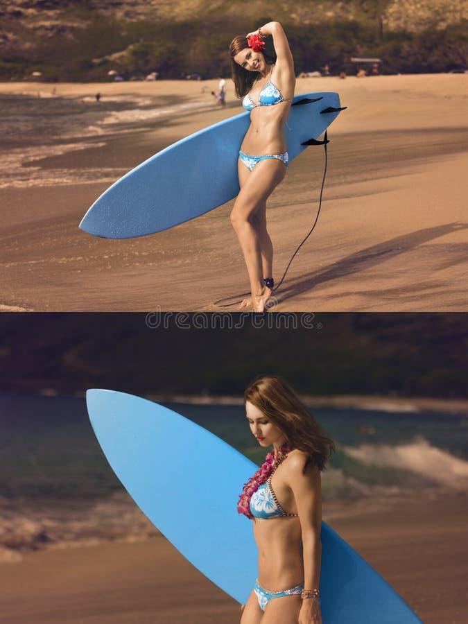 dziewczyna surfingu obrazy stock