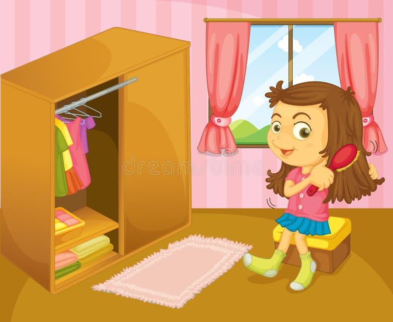 Dziewczyna szczotkuje jej włosy wśrodku jej pokoju ilustracja wektor