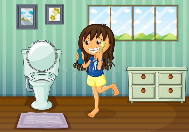 Dziewczyna szczotkuje jej zęby wśrodku wygoda pokoju ilustracja wektor