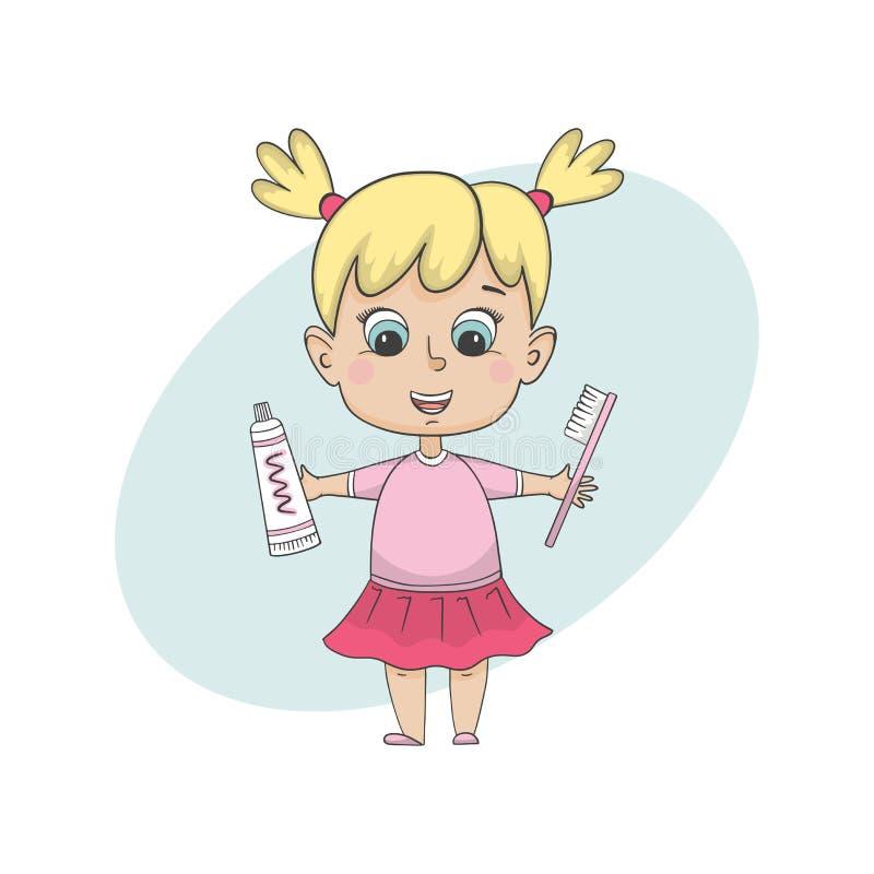 Dziewczyna szczotkuje zęby Odosobniony postać z kreskówki royalty ilustracja
