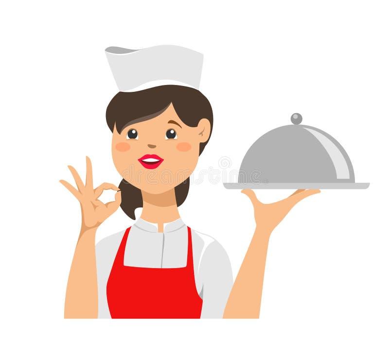 Dziewczyna szef kuchni trzyma tacę dla gorących naczyń z Ok znakiem na jej ręce i t?a ilustracyjny rekinu wektoru biel ilustracji