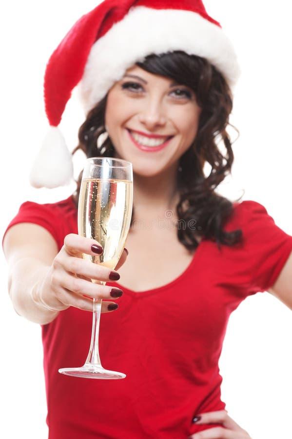dziewczyna szklany szczęśliwy Santa fotografia stock