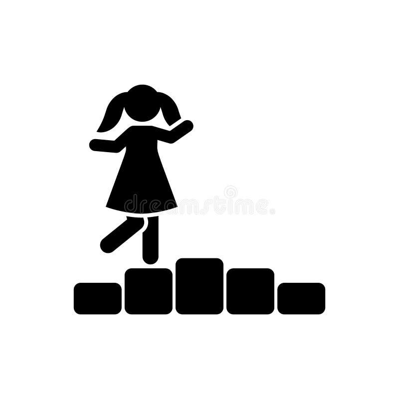 Dziewczyna, sztuka, gra, kamienna ikona Element dziecko piktogram Premii ilo?ci graficznego projekta ikona znaki i symbole inkaso royalty ilustracja