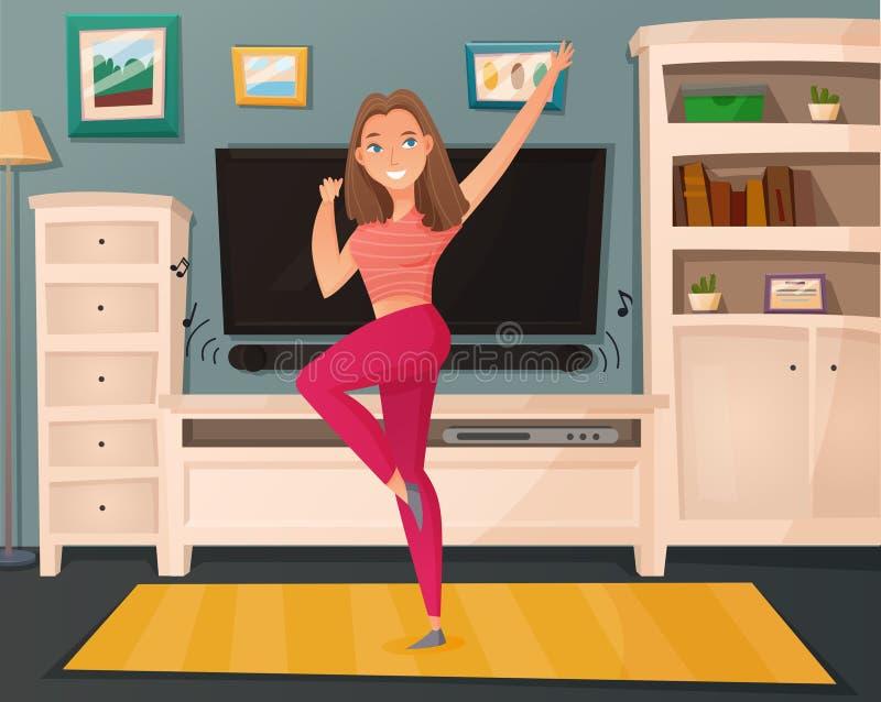 Dziewczyna tana domu kreskówki wektor ilustracji