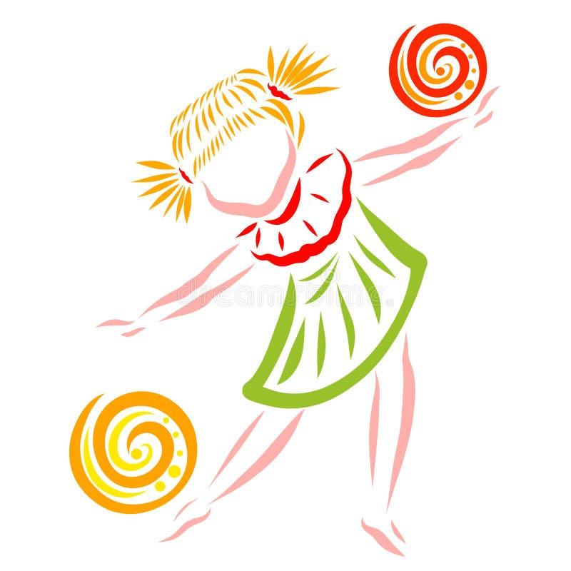 Dziewczyna taniec lub bawić się z dwa piłkami, zwinność ilustracji