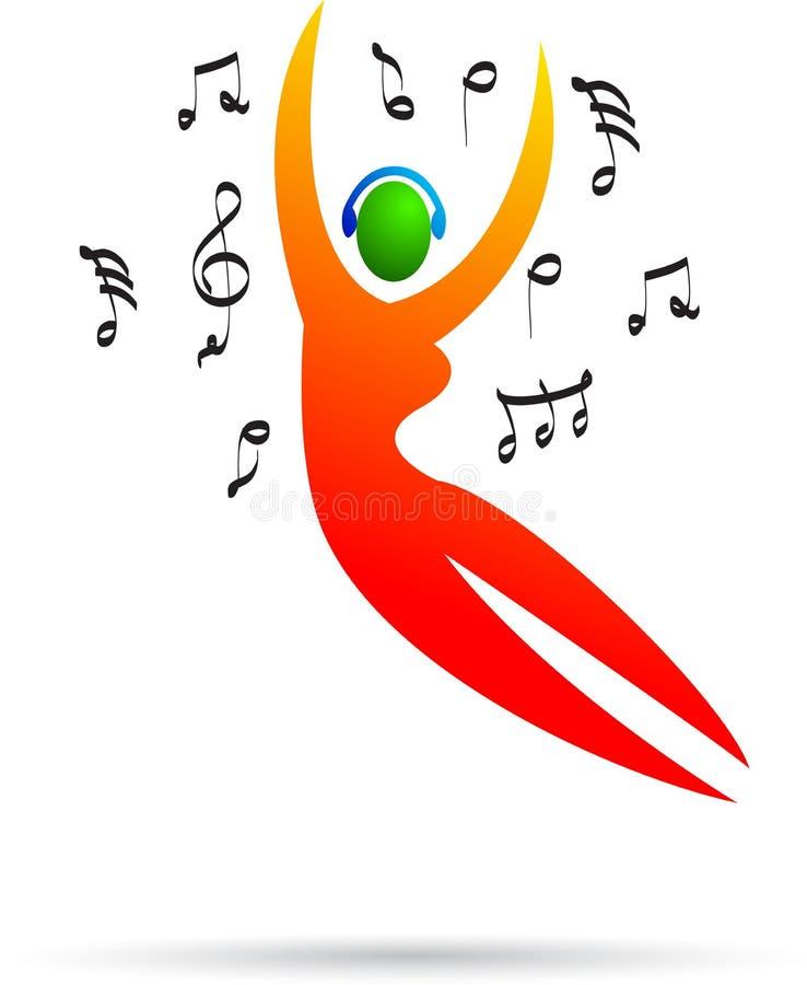 Dziewczyna taniec słuchająca muzyka i ilustracji