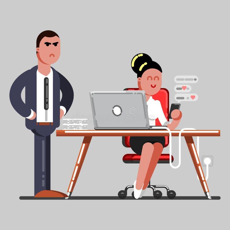 Dziewczyna texting w pracie ilustracja wektor