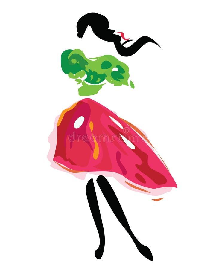 dziewczyna tradycyjna ilustracja wektor