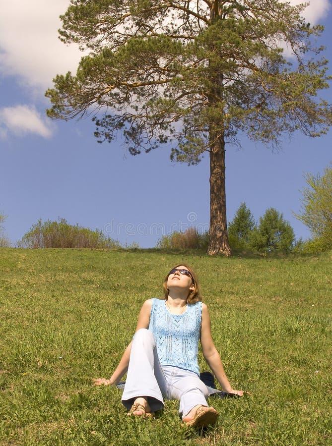 Download Dziewczyna trawnik obraz stock. Obraz złożonej z drzewo - 131685