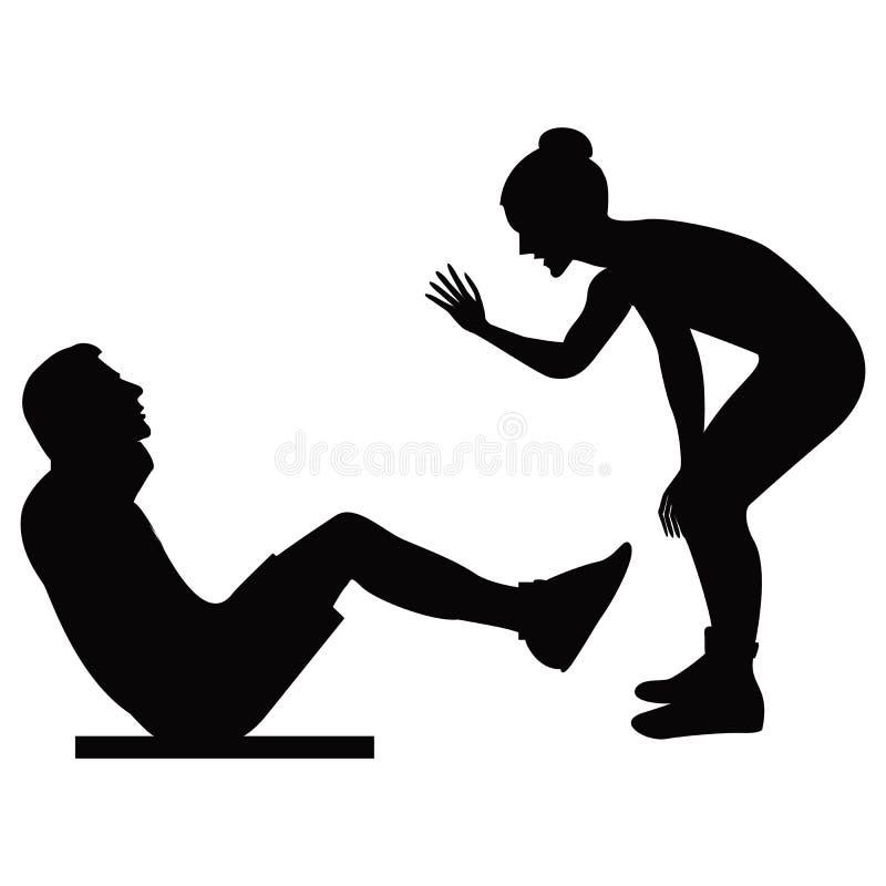 Dziewczyna trener trzyma sesi szkoleniowa mężczyzna potrząśnięcia prasowa czarna sylwetka na biały tło odizolowywającej wektorowe zdjęcia royalty free