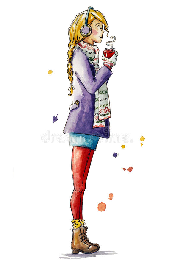 Dziewczyna trzyma filiżankę kawy Bożego Narodzenia spojrzenie ilustracja wektor
