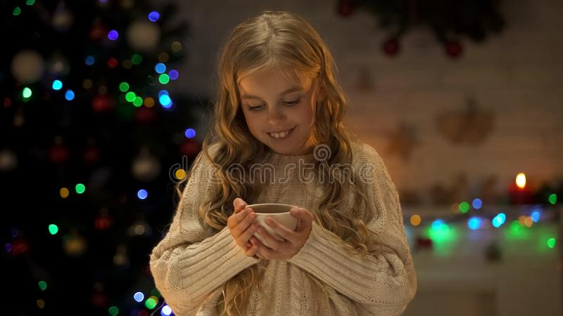 Dziewczyna trzyma filiżankę z gorącą czekoladą blisko choinki, wygodny wakacyjny wieczór zdjęcia stock