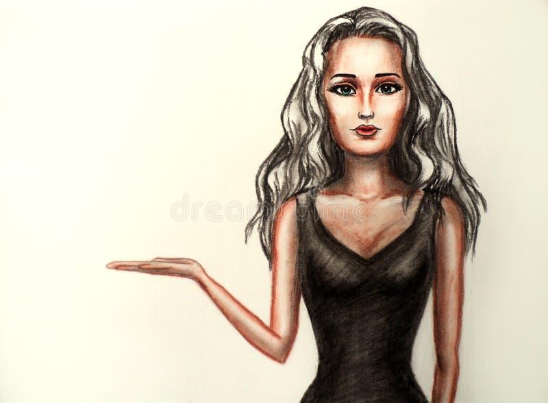 Dziewczyna trzyma imaginacyjnego produkt royalty ilustracja