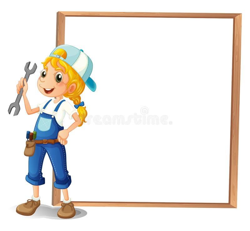 Dziewczyna trzyma narzędzie obok dużej ramy ilustracji