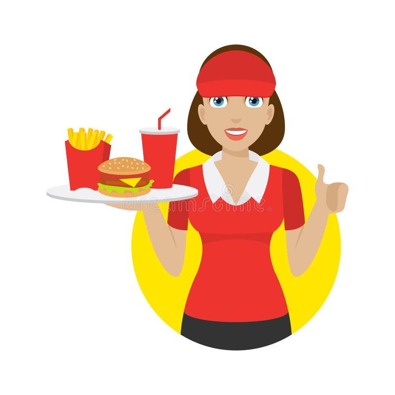 Dziewczyna trzyma tacę z fastem food ilustracja wektor