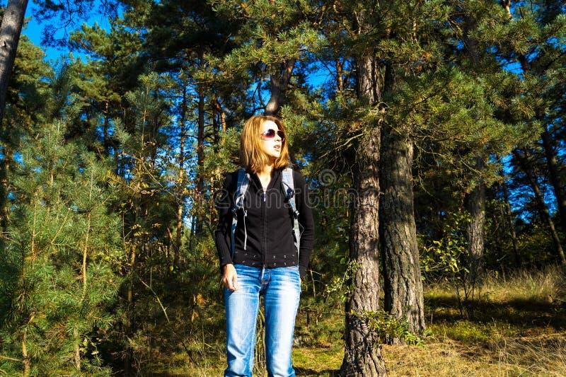 Dziewczyna turysta iść dla spaceru w lesie zdjęcia royalty free