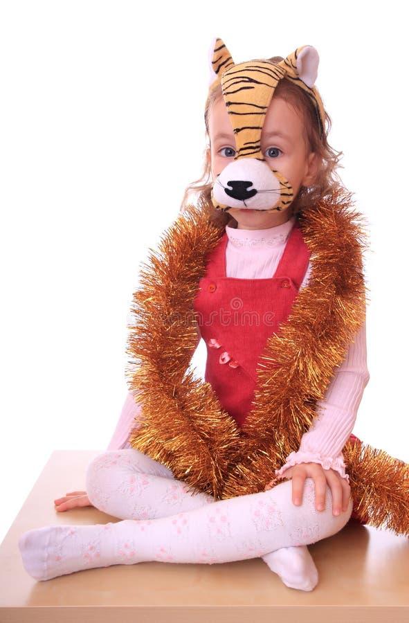 dziewczyna tygrys mały maskowy fotografia stock