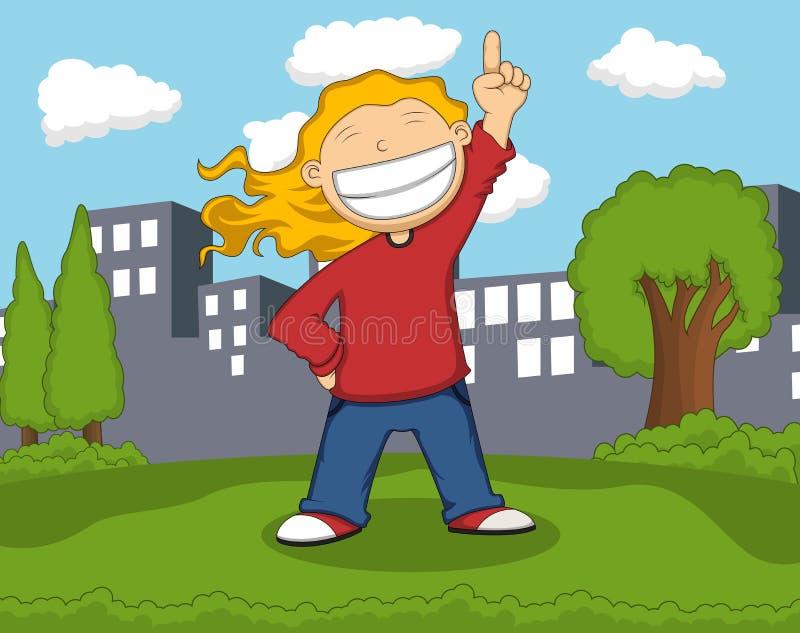 Dziewczyna uśmiech i podnosić jej palec przy parkową kreskówką ilustracja wektor