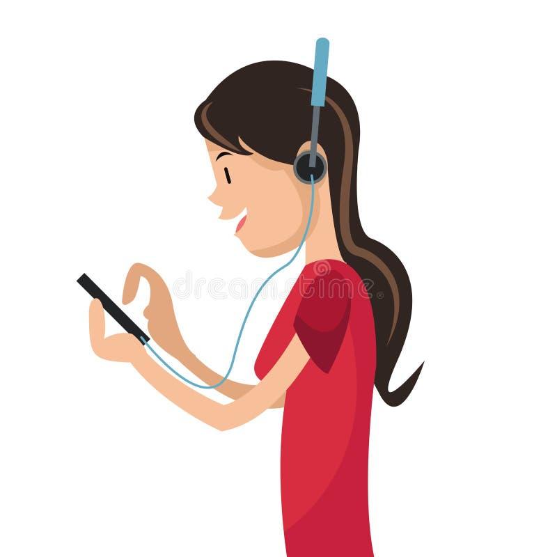 Dziewczyna używa smartphone hełmofony medialnych ilustracja wektor