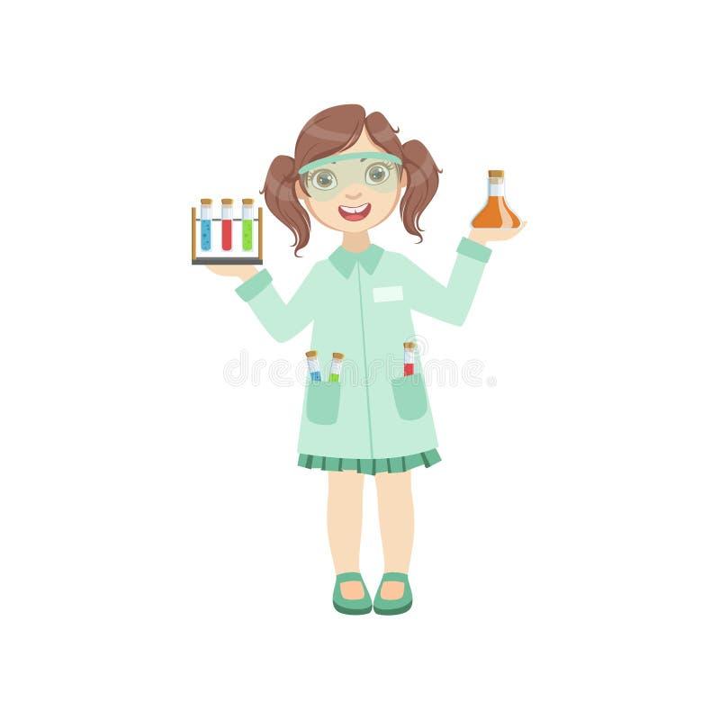 Dziewczyna Ubierająca Jako chemik Trzyma Próbne tubki royalty ilustracja