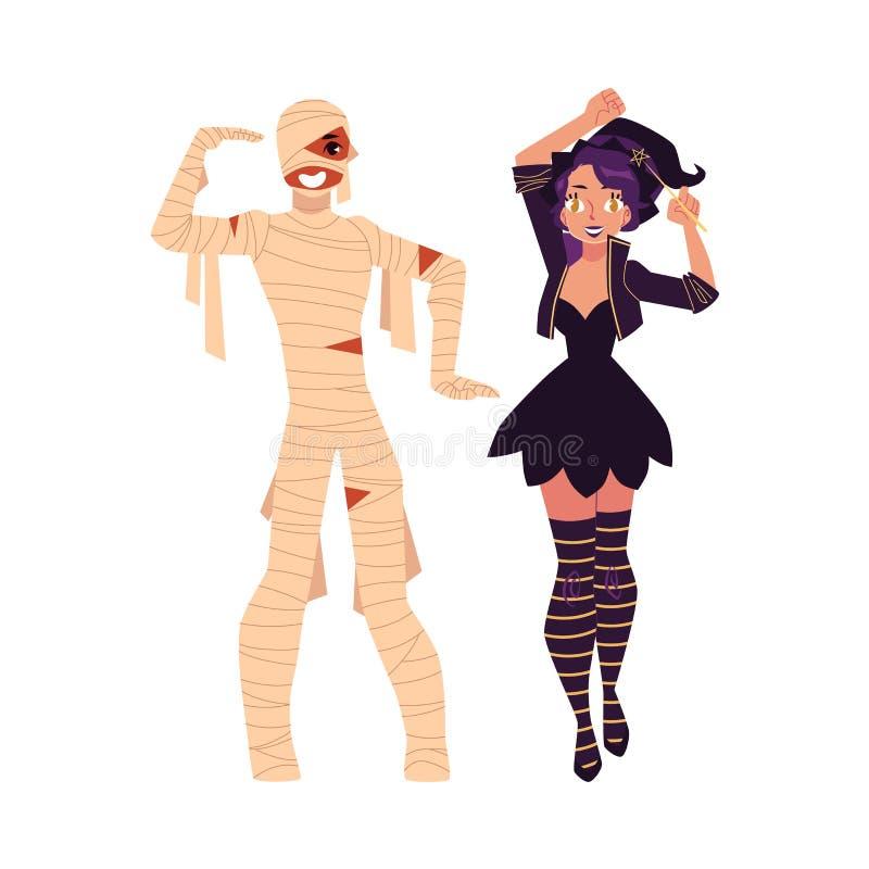 Dziewczyna ubierająca jako czarownica, magik, mężczyzna w mamusia kostiumu, Halloween ilustracja wektor