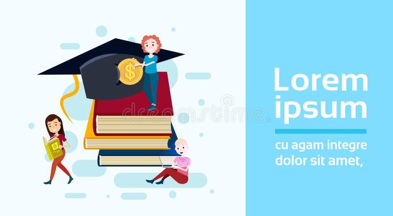 Dziewczyna ucznia filiżanki pozyci sterta książkowy chwyta dolara monety nauki charakter na białym tle folował długości mieszkani ilustracji