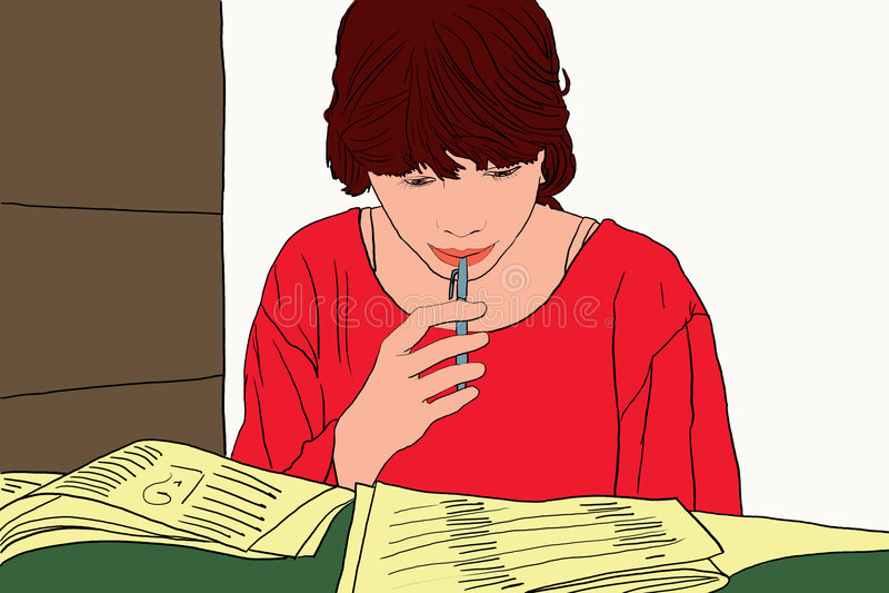 dziewczyna uczy się że czytałam ucznia royalty ilustracja