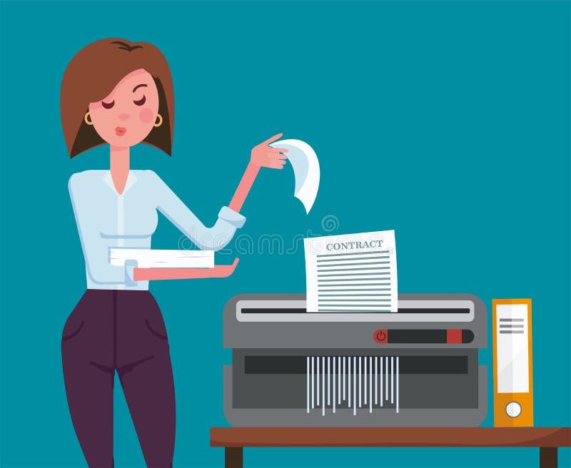 Dziewczyna urzędnik z nieradymi wyrazu twarzy strzępienia dokumentami Biurowy przyrząd dla zniszczenia dokumenty z pomarańcze ilustracja wektor