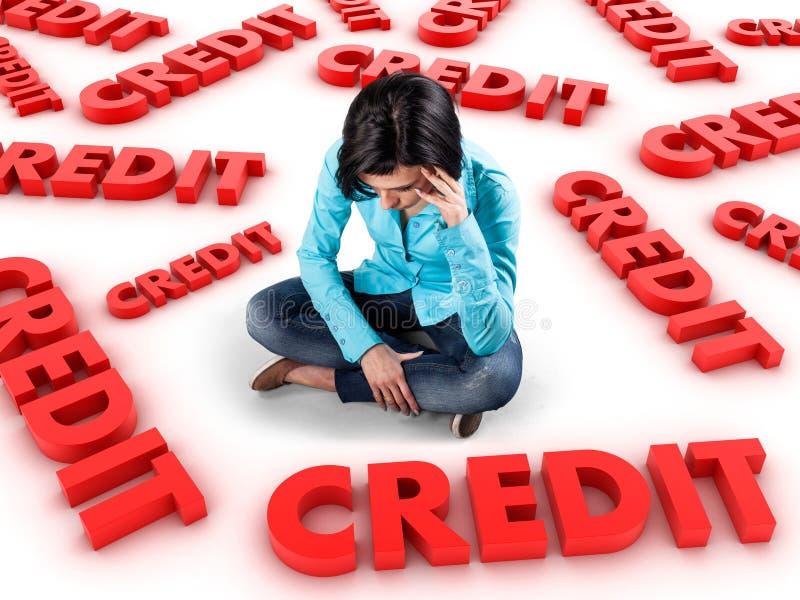 Dziewczyna wśród kredytów obraz stock