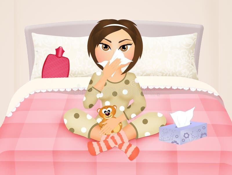 Dziewczyna w łóżku z grypą ilustracji