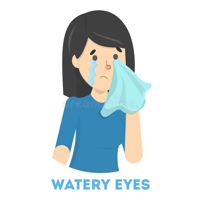 Dziewczyna w łzach Objaw grypa lub zimno ilustracja wektor