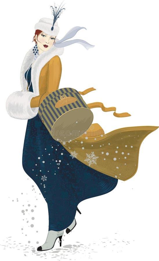 Dziewczyna w żółtym żakiecie royalty ilustracja