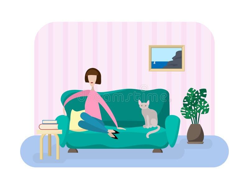 Dziewczyna w żywym pokoju ilustracja wektor