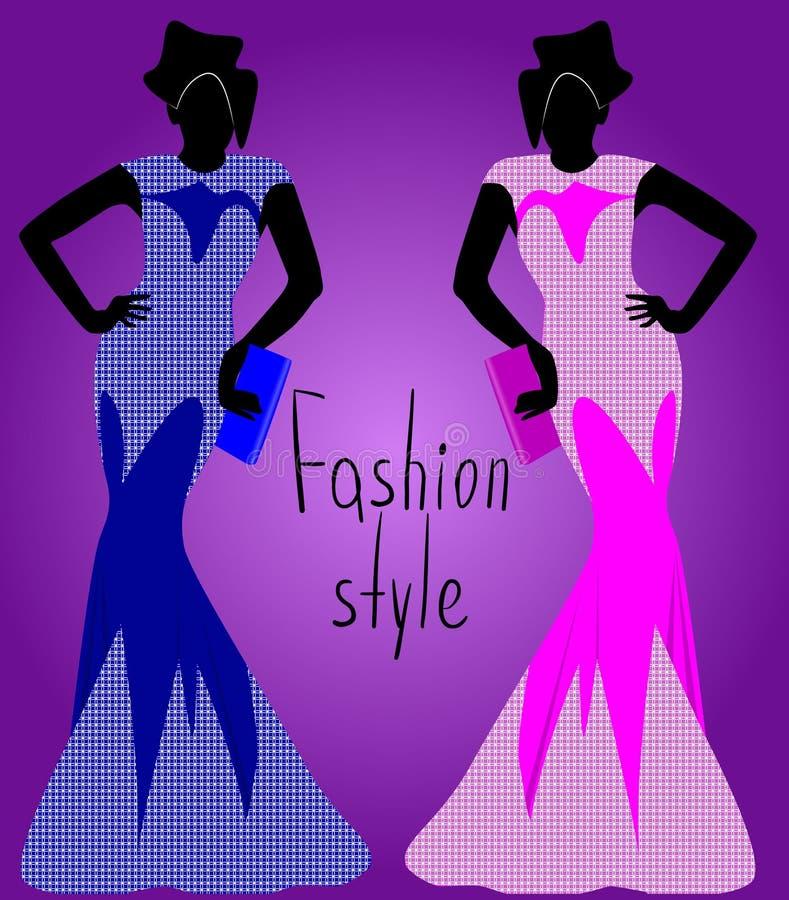 Dziewczyna w błękit sukni, dziewczyna w oddzielnej sukni, sylwetka, wektorowa ilustracja ilustracji
