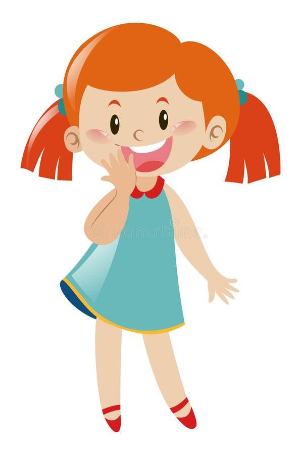 Dziewczyna w błękit sukni przyglądającej cofa się ilustracji