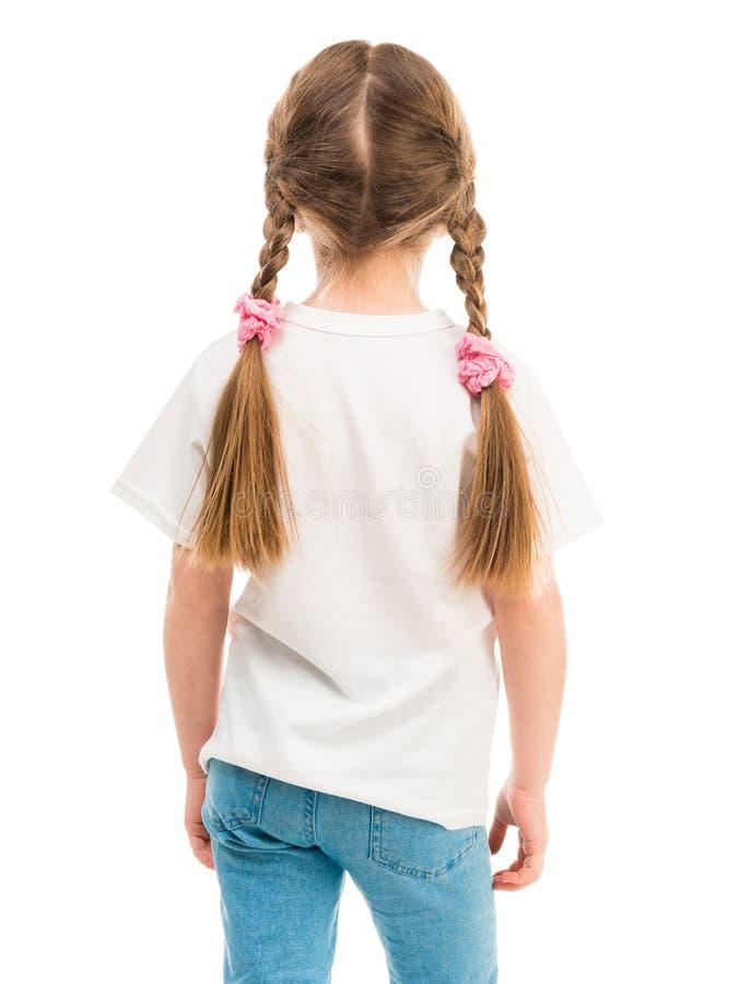 Dziewczyna w białej koszulce, plecy fotografia stock