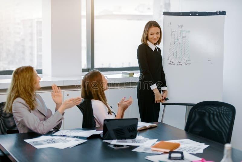 Dziewczyna w biurowych przedstawienie grafika jako markier deska obraz stock