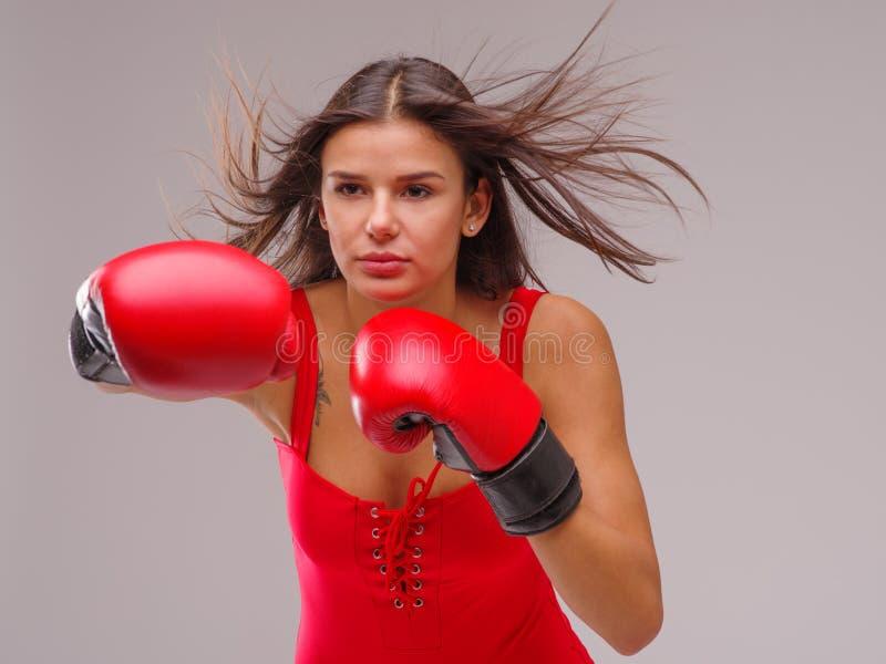Dziewczyna w bokserskich rękawiczkach i swimsuit uderza przeciw szaremu tłu zdjęcie stock