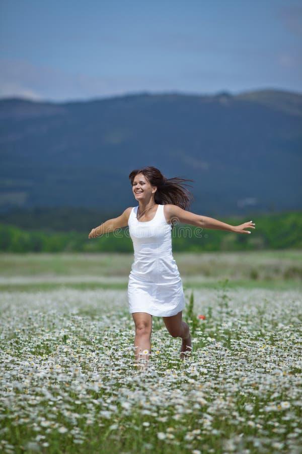 Dziewczyna w chamomile polu fotografia royalty free