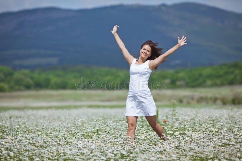 Dziewczyna w chamomile polu obrazy royalty free