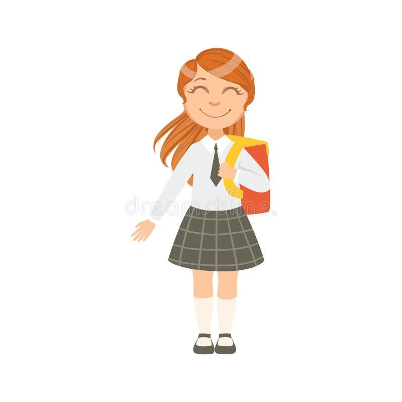 Dziewczyna W Czarnym W kratkę Szczęśliwym Schoolkid W mundurek szkolny pozyci I Uśmiechniętym postać z kreskówki spódnicy I krawa ilustracja wektor