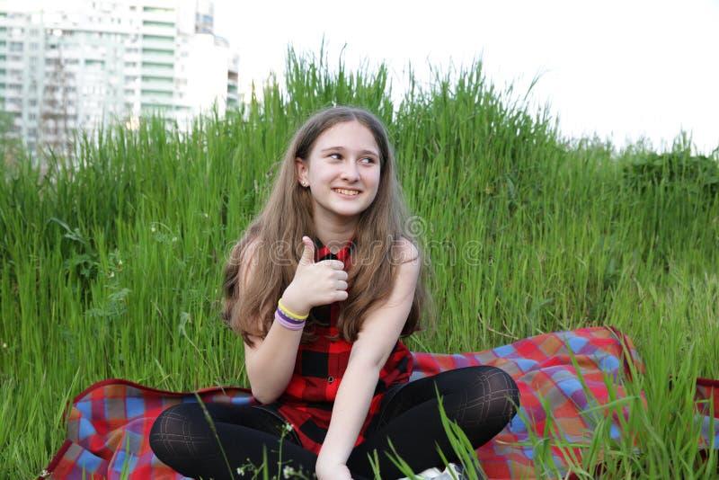Dziewczyna w czerwonej w kratk? koszula siedzi na czerwonym w kratk? dywaniku pokazuje aprobaty na tle zielona trawa i miast bu obrazy royalty free