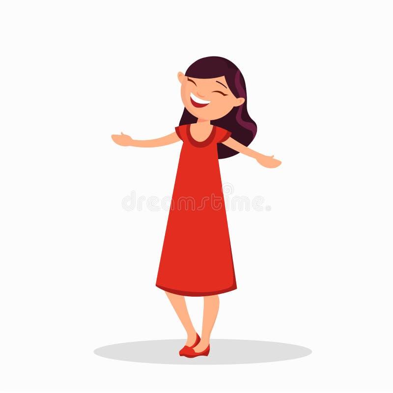 Dziewczyna w czerwonej sukni jest roześmiana, postać z kreskówki odizolowywający na białym tle Szczęśliwa dziewczyna w przypadkow ilustracja wektor