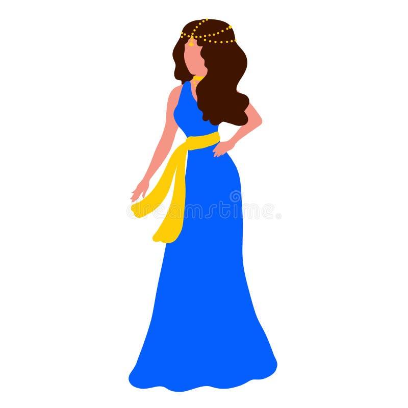Dziewczyna w długiej błękit sukni z żółtą biżuterią na jej szyi i głowie ilustracji