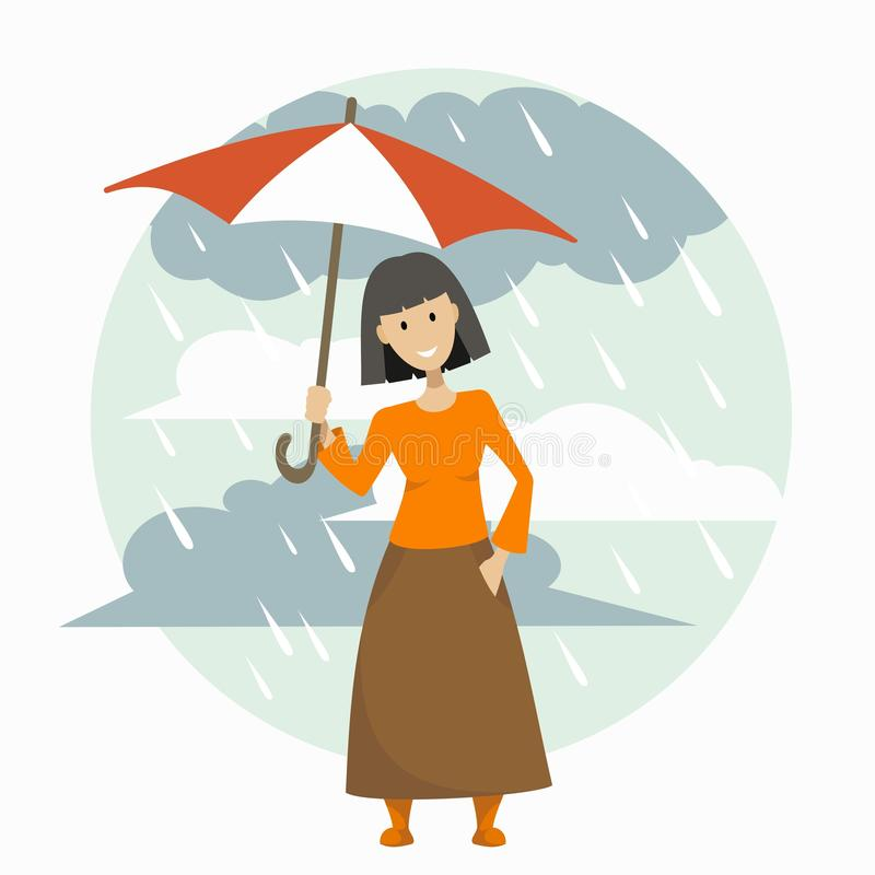 Dziewczyna w długiej spódnicie z parasolem royalty ilustracja